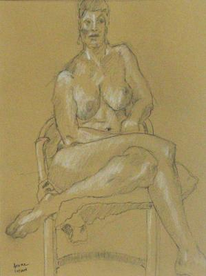 "Phillip Levine, ""Cushioned Figure"", 2014, charcoal on paper, 12.5 x 9.5"" image"