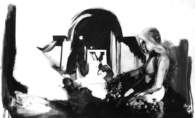 "Shay Bredimus, ""Dark Room series: Reflection"", 2016, tattoo ink and wax crayon on drafting film, 44"" x 65"""