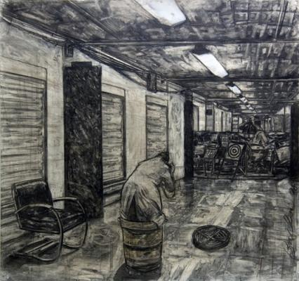 "David Bailin, ""Pendulum"", 2008, charcoal on paper, 52.5x54"""