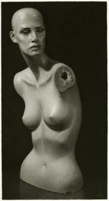 "Ira Korman, ""Disillusion"",, 2016, charcoal on paper, 20 1/8"" x 10 ¾"" image, 28"" x 18.5"" frame size"