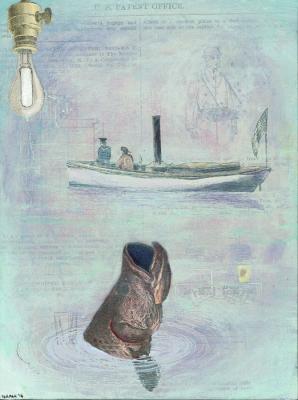 "Josh Dorman, ""Big Fish"", 2016, ink, acrylic & collage on panel, 8"" x 6"""