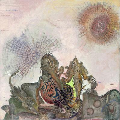 "Josh Dorman, ""Fish Mountain"", 2016, ink, acrylic & collage on panel, 8"" x 8"""