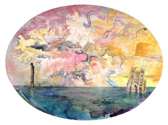 "Josh Dorman, ""Sunken World"", 2016, ink, acrylic & collage on panel, ""12"" x 16"""