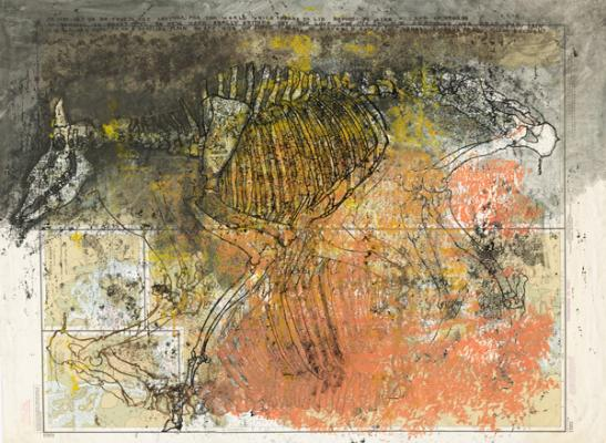 """Dover Beach I"", 2001, mixed media on paper, 47.75 x 35.5"""
