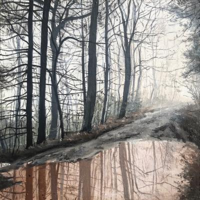 """""""Dupont in the Fog"""", 2019, Oil on panel, 4.25"""" x 4.25"""""""