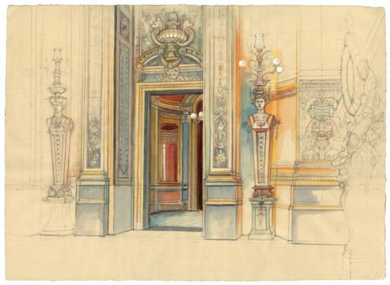 """Lamps, Grand Foyer, Pais Opera"", 2015, pencil, watercolor on paper, 19 x 26"""