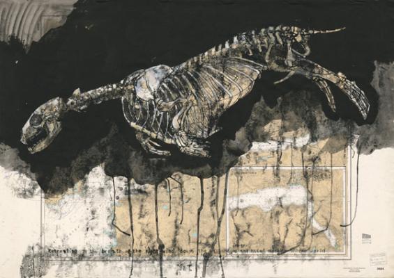 "Elizabeth Ockwell, ""Dover Beach No. 5"", June 2016, etching ink transfer, black gesso, nautical chart,  46.5 x 33"""