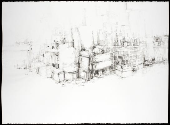 "Eric Elliott, ""Studio 31"", 2013, ink on paper, 22 x 30"""