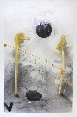 "Fred Birchman, ""The Dramatic Results"", 2015 mixed media on paper, 23.75 x 16"""