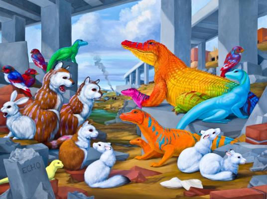 """Laurie Hogin, """"Echo Turnpike (Habitat Diorama with Rubble-Dwelling Species)"""", 2014, oil on linen, 30"""" x 40"""""""