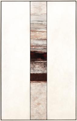 """Edge of Promise  2017, encaustic on birch panels, 67"""" x 42.25"""" framed"""