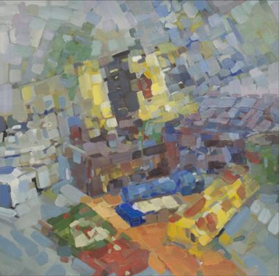 """Eric Elliott, """"Detritus"""", 2011, oil on paper, 22 x 22"""""""