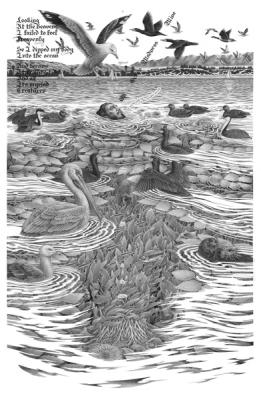 "Eric Beltz, ""When Jesus Swims He Becomes The Ocean"", 2015, graphite on Bristol, 39"" x 29"""