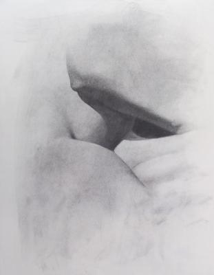 "Eric Elliott, ""Under the Arm"", charcoal on paper, 20 x 18"""