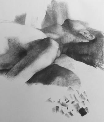 "Eric Elliott, ""Reclining Figure"", charcoal on paper, 18 x 18"""