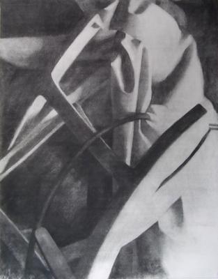 "Eric Elliott, ""Junk Pile"", charcoal on paper, 24 x 18"""