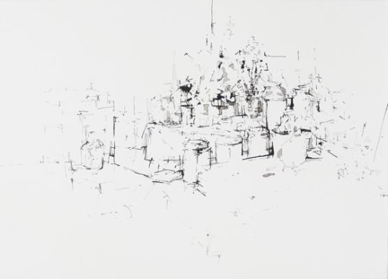 """Studio 19"", 2008, ink on paper, 11x15"""