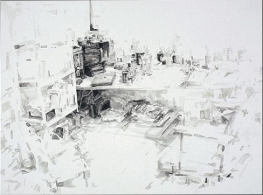 """Studio #3"", 2006, ink on paper, 22x30"""