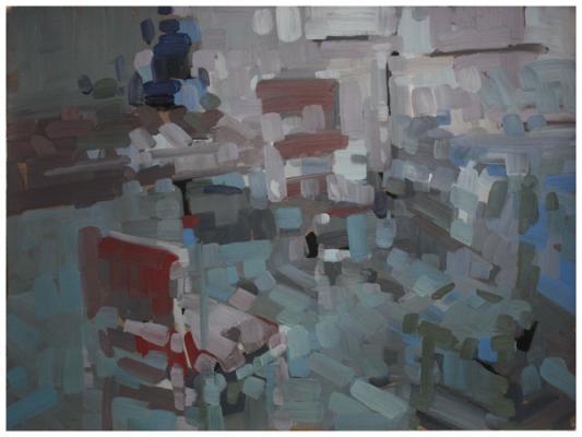 "Eric Elliott, ""Studio Corner"", oil on paper, 22x30"""