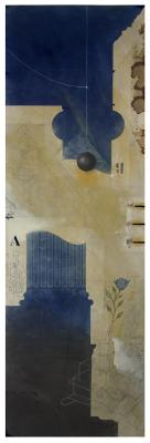 """Blue Architect"", 2017, graphite, raw pigments, lamp black, watercolor, acrylic, ink, and coffee on paper, 50"" x 19"" image, 52.5"" x 22"" framed"
