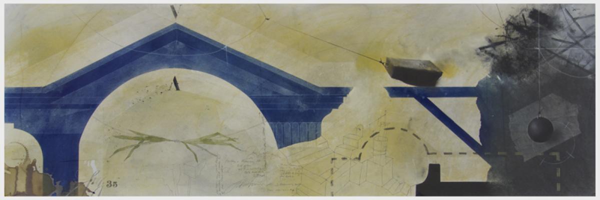 "Fred Birchman, ""Dark Arkitect #1"", 2017, mixed media on paper, 50 x 19"""