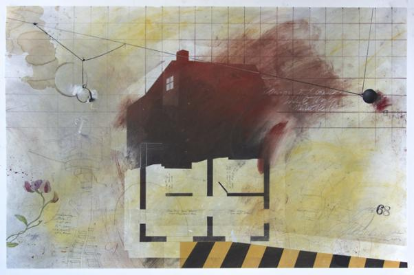 """A HOUSE is NOT A HOME"", 2017, graphite, raw pigments, lamp black, watercolor, acrylic, ink, and coffee on paper, 37"" x 25"" image, 39.25"" x 26.25"" framed"
