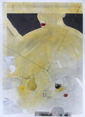 """Muse #3"", 2017, graphite, raw pigments, lamp black, watercolor, acrylic, ink, and coffee on paper, 25"" x 22"" image, 32.25"" x 24.25"" framed"