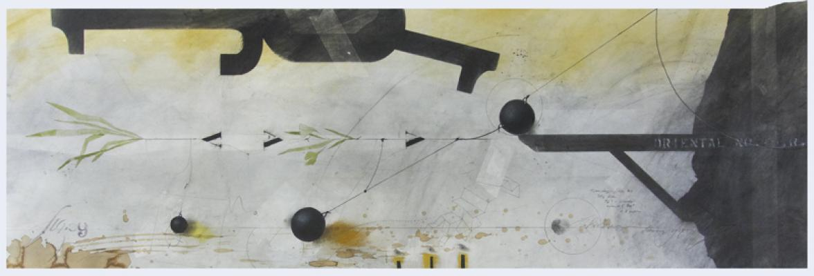 """String Theory"" (large version), 2017, graphite, raw pigments, lamp black, watercolor, acrylic, ink, and coffee on paper, 19"" x 49"" image, 22"" x 53"" framed"