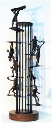 """Fear and Habit"",  2013, Bronze / Steel, 33"" x 14"""