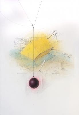 "Fred Birchman, ""Fig. 42"", 2014, graphite, charcoal and colored pencil on paper, 15 x 22"""