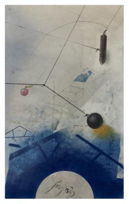 "Fred Birchman, ""Fig. 52: The Moon in '52"", mixed media on paper, 18.5 x 12.5"""