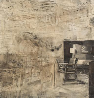 "David Bailin, ""Float"", 2015, Charcoal, colored-pencil, pastel and coffee on prepared paper, 52"" x 54"""