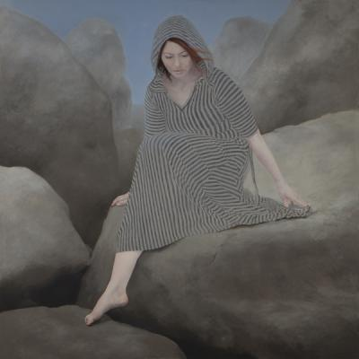 "Judy Nimtz, ""Formae (lithos)"" 2018, oil on panel, 48"" x 48"""