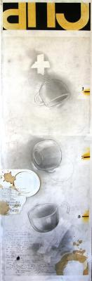 """Fred Birchman, """"The Inference of the Cup"""", 2015, mixed media on paper, 41 x 12.75"""""""