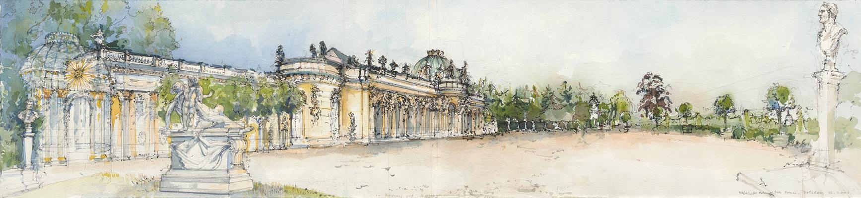 Palace of Frederick the Great, San Souici, Potsdam 2001, pencil, ink, and waterc