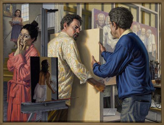 "F. Scott Hess, ""Studio Drama"", 2014, oil on canvas, 33"" x 44"""