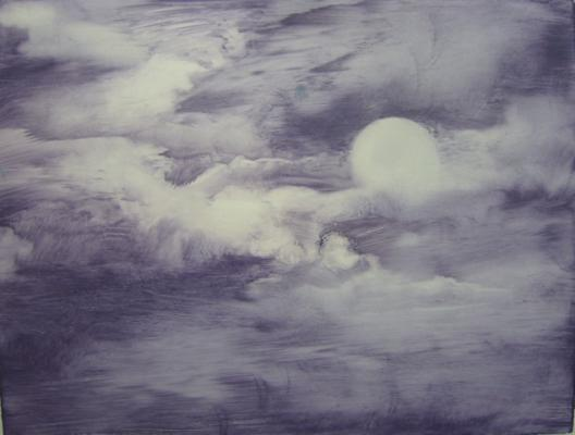 """""""Full Moon"""", 2015, oil on paper, 6.6 x 8.75"""" im., 16 x 19"""" framed"""