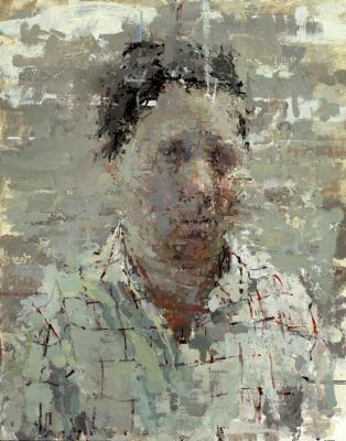 """Ann Gale, """"Portrait with Cap"""", 2014, oil on linen over board, 14 x 11"""""""