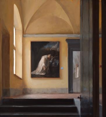 "Kenny Harris, ""Gazing Upward, Monte Oliveto"", 2015, oil on panel, 24"" x 22"""