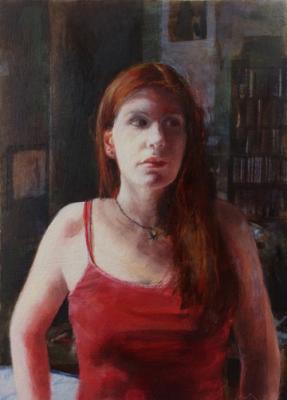 "Sally Cleveland, ""Girl With Red Hair In A Red Tank Top"", 2017, oil on paper, 7"" x 5"""