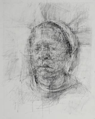 "Ann Gale, Gloria in Intersection  2017, graphite on paper, 17"" x 11"""