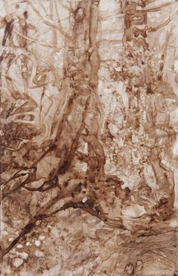 """Watershed II"", 2016, walnut ink on paper, 6.75 x 3.75"""