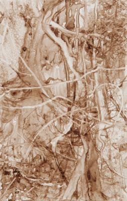 """Watershed I"", 2016, walnut ink on paper, 6.75 x 3.75"""