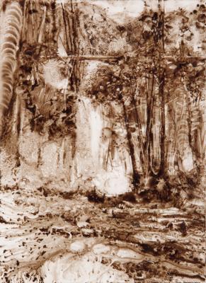 "Kathy Gore Fuss, ""Cascade"", 2017, walnut ink on paper, 7.75 x 5.5"""