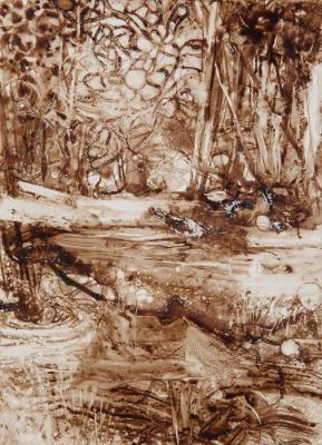 "Kathy Gore Fuss, ""I Walked Along Side You"", 2017, walnut ink on paper, 7.25 x 5.25"""