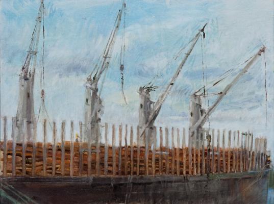 "Kathy Gore Fuss, ""Loading I"", 2014, oil on linen panel, 9 x 12"""