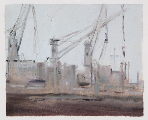 """Loading 2 (study)"", 2014, oil on paper, 4.5 x 5.5"""