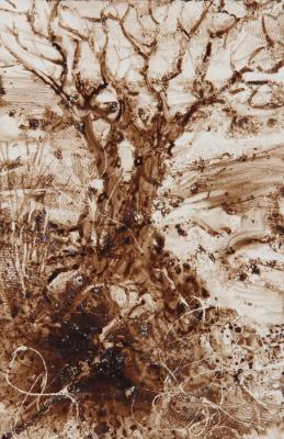 """River Bank"", 2016, walnut ink on Yupo paper, 5.75"" x 3.75"" image, 13"" x 10.75"" framed"