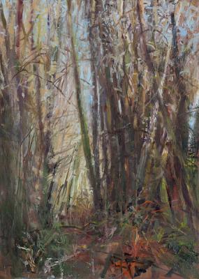 "Kathy Gore Fuss, ""Winter Lean"", 2014, oil on paper, 14 x 10"""