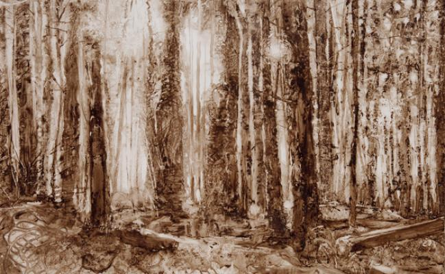 """Kathy Gore Fuss, """"Timber"""", 2017, walnut ink on Yupo paper, 22.5"""" x 29.75"""" framed"""